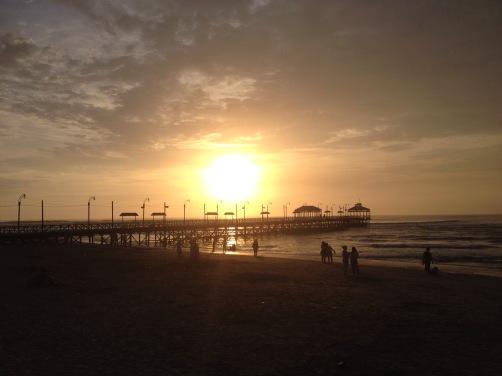 Huanchaco sunset pier Peru