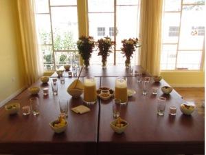 community hostel dinner table